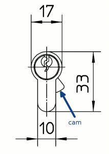 The anti-withdrawal cam protrudes outside the shape of the body when the key is extracted, thus resisting any attempts to remove the cylinder by force.