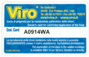 The coded card which allows copying of emergency keys of Viro safes only for the rightful owner.