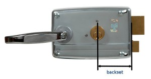 The backset is the distance between the centre of the cylinder and the plate from which latch protrudes.