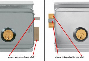 In the Viro locks, the ejector separate from the latch tolerates a greater misalignment.