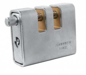 A square shaped padlock is easier to grip and manipulate.
