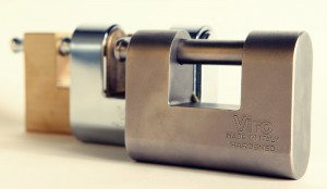 Various types of roller shutter padlocks.