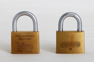 A 50 mm Viro rectangular padlock, made in Italy, compared with a similar one imported from the Far East.