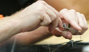 Opening a lock whilst holding it in your hand is much easier than doing so when the lock is fitted in the door.