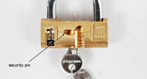 The Viro cylindrical padlock has a security pin on the opposite side to the pins.