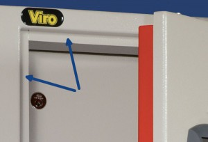 The arrows indicate the attack-proof ledges present on the frame of a Viro cabinet.