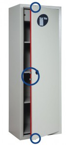 The circles highlight the dead-bolts present on the 3 sides of the Viro security cabinets.