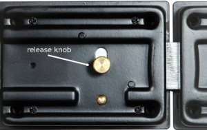 The inside knob can also be hooked from the outside, by drilling a small hole in the door.