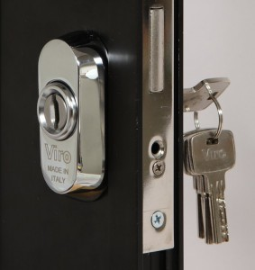 The Viro universal security escutcheon held in place by the cylinder.