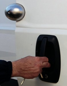 "The convenience of the ""Viro Van Lock"" is that it remains attached to the door when the door is opened, so there is therefore no need to fit it and remove it every time."
