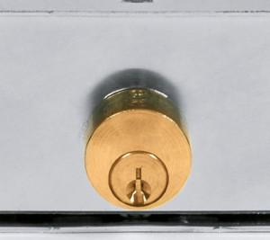 The cylinders of common locks for shutters jut out and have no protection.