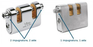 There are also padlocks with two slots but with only one bolt (and, therefore, only one grip) which do not have all the advantages of a double bolt.