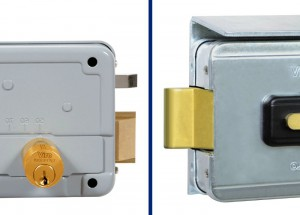 On the left in the photo there is the latch and ejector of a normal electric lock; on the right there is the Viro rotating deadbolt.