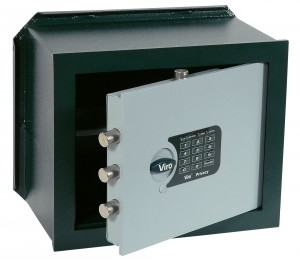Viro Privacy electronic combination safe, horizontal wall recessed version.