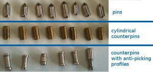 The top row shows the pins, the middle row shows the traditional cylindrical profile counterpins and the bottom row shows various counterpins with anti-picking profiles.