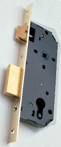Example of lock adapted to receive a European profile cylinder.