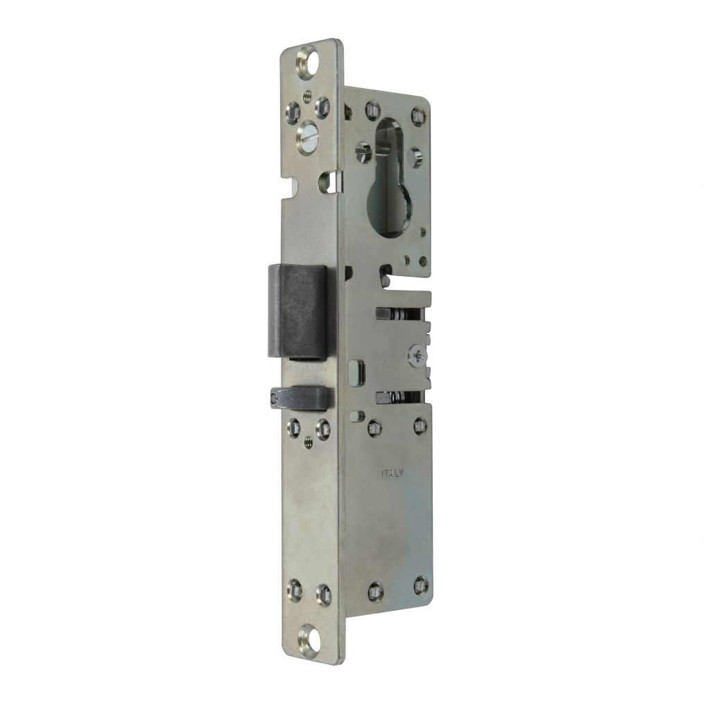Mortise lock with self-locking reversible latch prepared for profiled cylinder item 8537
